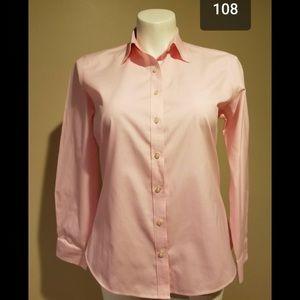 Lands end pink button down shirt